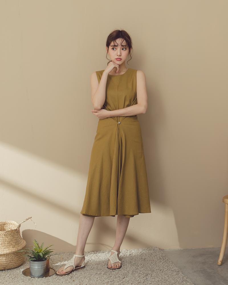 Tiff洋裝-棉麻綁帶素面洋裝