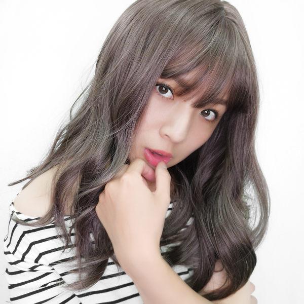 魔髮樂 全頂假髮 韓系水波紋捲髮 中長髮 乾燥玫瑰 灰濛色 L1808