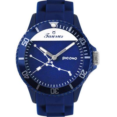 PICONO 星座系列休閒腕錶-金牛座x藍/48mm