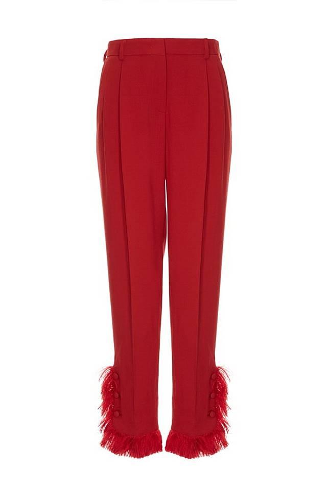 Giorgio Armani紅色流蘇長褲 (互聯網)