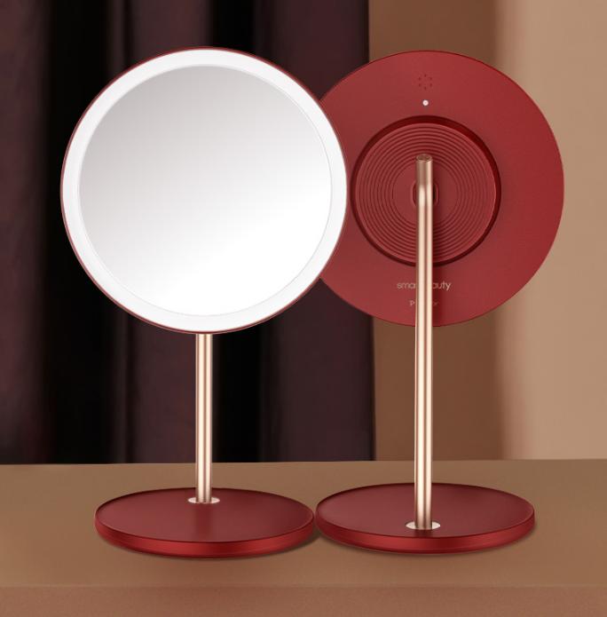 化妝鏡led燈鏡子台式桌面便攜折疊美妝鏡結婚梳妝鏡女 智能感光科技 99%超清膚色還原