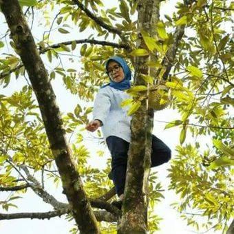 Foto Bupati Lebak Iti Octavia Jayabaya ramai diperbincangkan di media sosial. Foto itu menunjukkan Iti sedang memanjat pohon durian.(dok. Humas Pemkab Lebak)