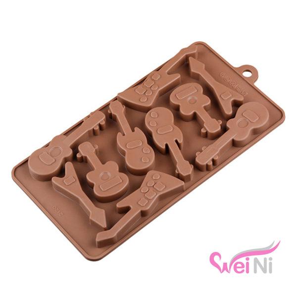 wei-ni 矽膠模 吉他造型 10連 蛋糕模 矽膠模具 巧克力模型 冰塊模型 餅乾模具 DIY
