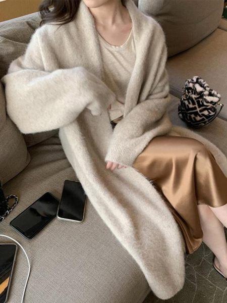 秋季新款慵懶風氣質時尚毛衣寬松羊絨針織開衫中長款外套女士