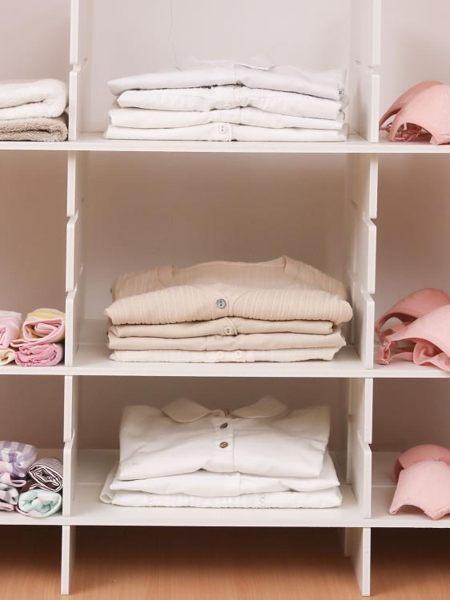 免釘衣柜分隔板自由組合分層隔斷書柜儲物格子置物架衣服收納神器