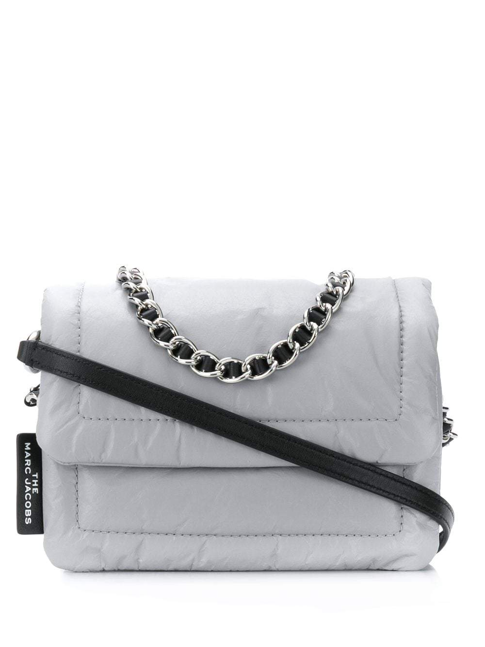 Light grey Pillow faux-leather shoulder bag from Marc Jacobs featuring foldover top with magnetic fa