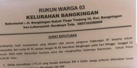 Aturan RT RW untuk pribumi dan nonpribumi di Surabaya. ©2020 Merdeka.com