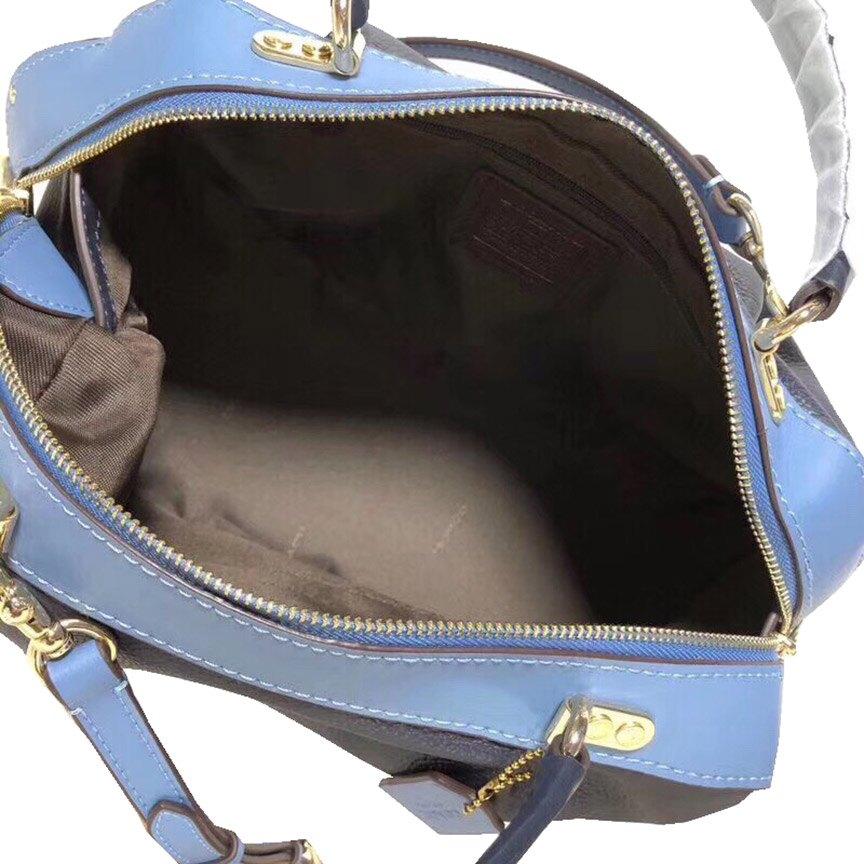 ~雪黛屋~COACH 枕頭包中容量國際正版保證進口防水防刮皮革拉鍊式主袋品證購證塵套提袋等候10-15日C737201