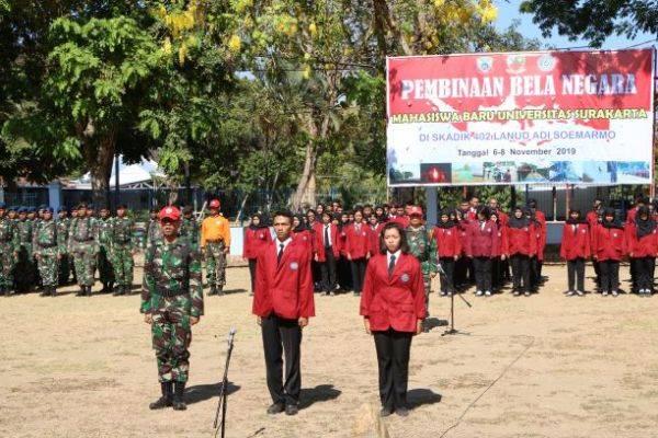 Sebanyak 231 mahasiswa Universitas Surakarta mengikuti pelatihan bela negara di Lanud Adi Soemarmo, November 2019