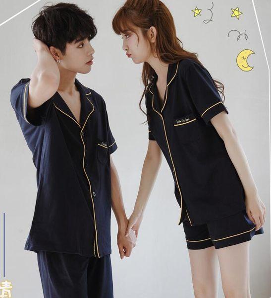 睡衣情侶睡衣女夏季兩件套短袖清新休閒純棉韓版男套裝薄款 晴天時尚館