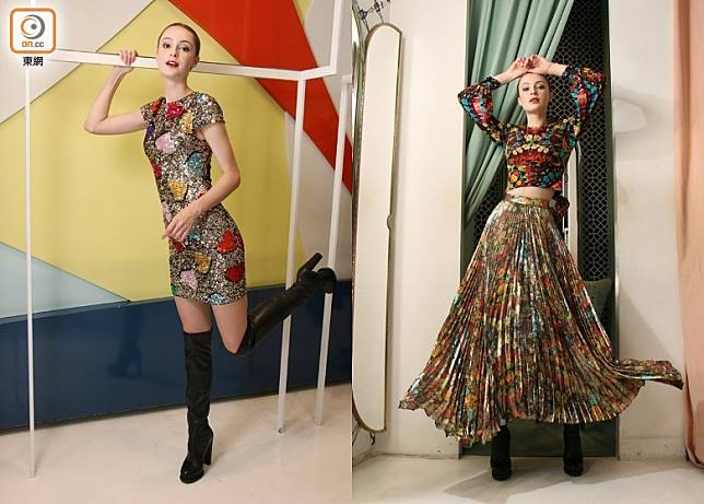 左:alice+olivia心形珠片裙 、小牛皮長靴/右:alice+olivia蝴蝶印花圖案上衣 、百褶長裙 (盧展程攝)