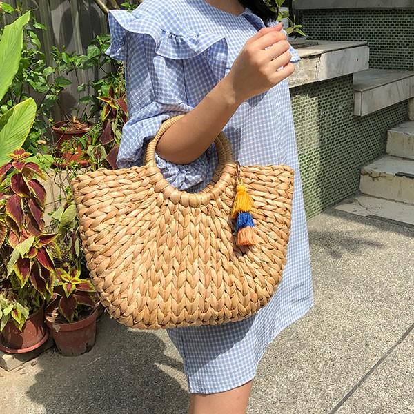 NXS 爆款 半圓形 草編包 籐編包 藤編包 手提包 束口 編織 玉米葉 海邊 度假 韓國 網紅