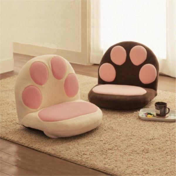 懶人沙發 榻榻米卡通可愛貓爪沙發懶人沙發單人兒童日式卡通床上哺乳喂奶椅 莎拉嘿幼