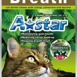 ◎A star貓專用星星造型潔牙骨,含貓薄荷、木天蓼與牛磺酸成分,嗜口性極佳 ,幫助貓咪排除毛球,增進腸胃營養攝取,改善貓咪的便秘狀況,可促進消化與體內循環,增強身體機能。|◎|◎品牌:無類型:潔牙類