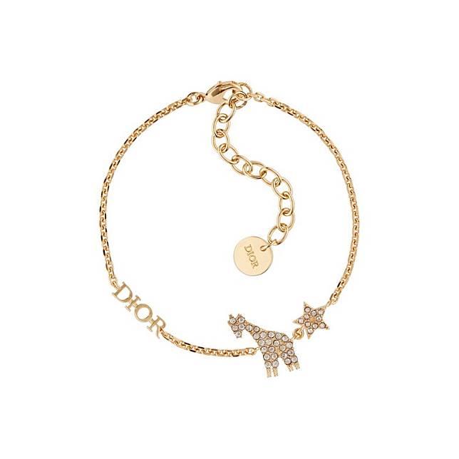DIOR White Crystal Diorable Giraffe Gold Finish Bracelet(互聯網)
