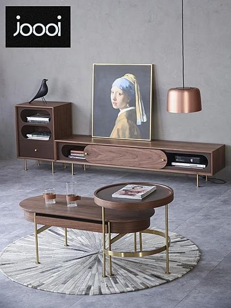 北歐輕奢電視柜小戶型電視柜茶幾組合現代簡約ins風創意客廳家具