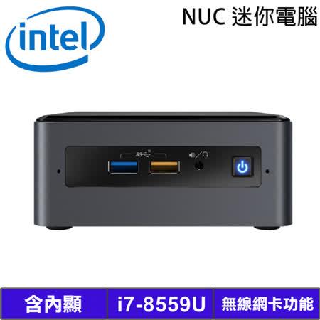 ◆ Intel NUC準系統-第8代i7-8559U處理器 ◆ 含內顯及無線網卡功能 ◆ 原廠 3年保固 ◆ 迷你主機 尺寸117 x 112 x 51mm