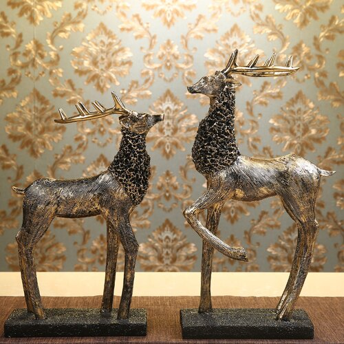 雙鹿立姿(復古金)歐式招財鹿家居飾品客廳擺件美式軟裝飾創意酒柜電視柜書房工藝品