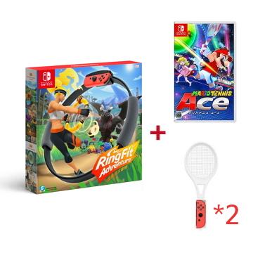 內含:遊戲軟體 健身環大冒險 Ring-con/腿部固定帶(需搭配Joy-con使用) 本遊戲不對應Nintendo Switch Lite主機 網球拍不含joy-con手把