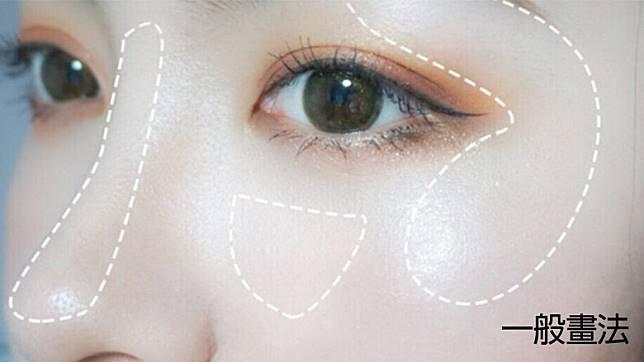 上半臉的高光可以打在T字位、眉骨、眼下方和太陽穴等位置。(互聯網)