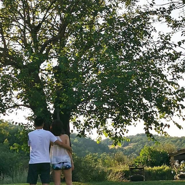 大樹下的一對戀人。