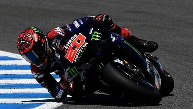 Fabio Quartararo tak bisa mempertahankan posisi terdepan di Jerez (AFP)