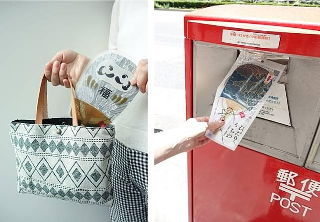 (左圖)有專為保護扇子而設的達摩扇套,售306日圓。(右圖)扇子的專用信封,只要貼上郵票就可於日本國內寄送,售102日圓。(互聯網)