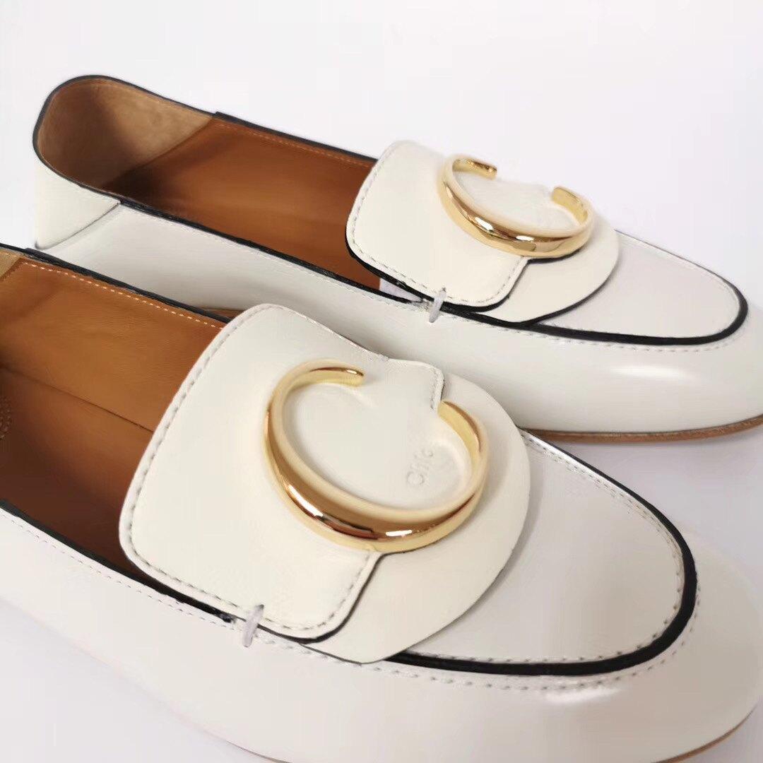 【Go時尚】Chloe 鞋跟 高皮革 奶白色 樂福鞋