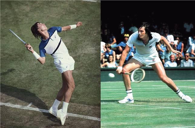 左起:蘭度(Ivan Lendl)、Adriano Panatta更穿了此帆布鞋來比賽。