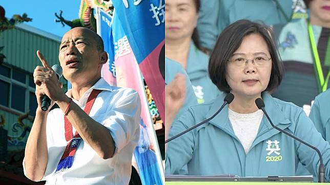 高雄市長韓國瑜與總統蔡英文。