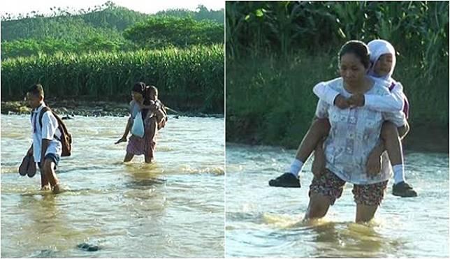 Demi Antar Anak Sekolah, Begini Cara Para Orangtua Seberangi Sungai yang Tak Ada Jembatannya