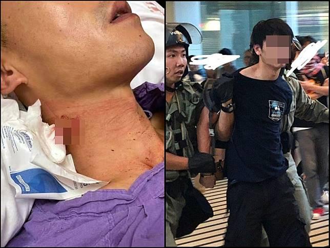 遭割頸警員送院治療。網圖