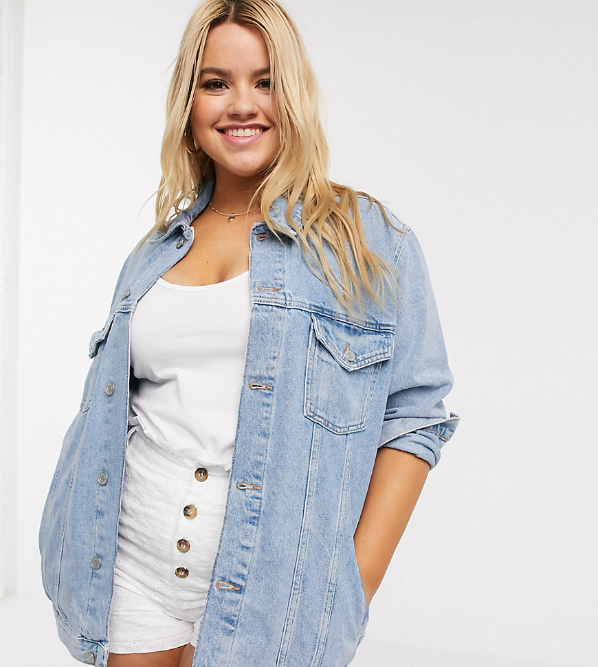 Plus-size denim jacket by New Look The original transitional jacket Point collar Button placket Func