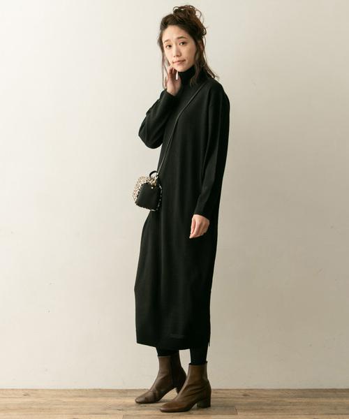 黑色高領針織連身裙