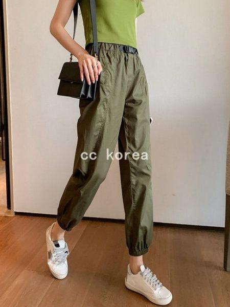 簡約短版短T+休閒工作褲2件套裝 CC KOREA ~ Q23975
