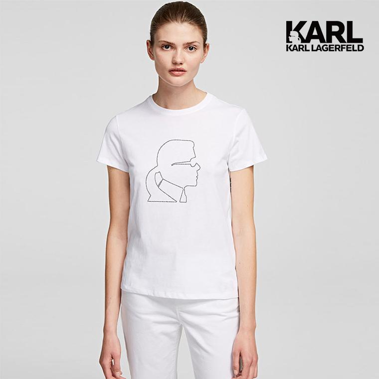 純棉t恤飾有標誌性的karl lagerfeld黑色水鑽標誌的輪廓,精美的藝術品將這款經典休閒t恤轉變為個性宣言。
