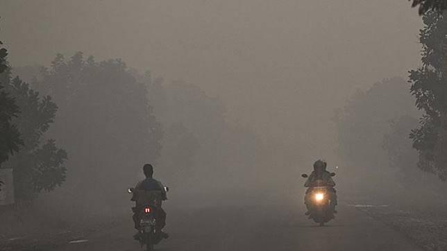 Kendaraan melintas di jalanan yang diselimuti asap di daerah Panarung, Palangka Raya, Kalimantan Tengah, Selasa, 17 September 2019. Kabut asap akibat kebakaran hutan dan lahan yang menyelimuti Kota Palangkaraya, Kalimantan Tengah, menyebabkan kualitas udara di kota itu berbahaya untuk kesehatan warga. ANTARA/Hafidz Mubarak A