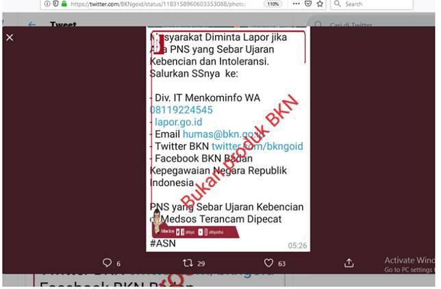 Tangkapan layar mengenai pesan hoaks yang mengatasnamakan BKN(Twitter/@BKNgoid)  Artikel ini telah tayang di Kompas.com dengan judul