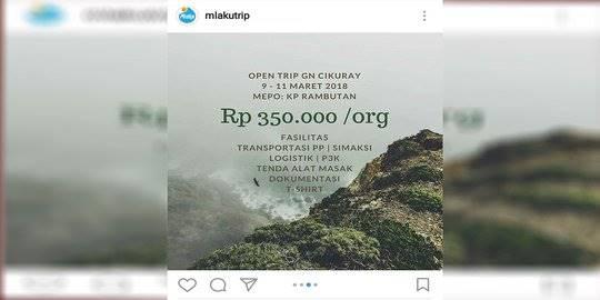 penipuan akun @mlakutrip. ©2018 media sosial