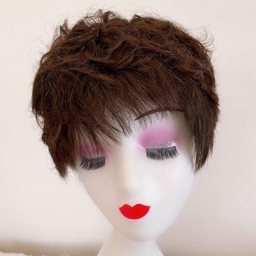 【米蘭精品】整頂假髮真髮絲短假髮-蓬鬆捲髮逼真熟齡女假髮2色73vr28