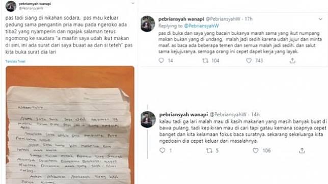 Pengantin sedih saat mendapat surat saat pernikahan (twitter @PebriansyahW)