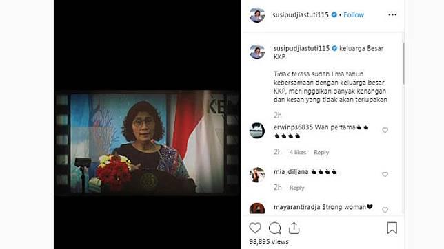 Menteri Kelautan dan Perikanan Susi Pudjiastuti mengunggah video nostalgianya selama menjabat sebagai menteri di hari terakhir masa kerja Kabinet Indonesia Kerja Jilid I, Jumat, 18 Oktober 2019. Instagram/@susipudjiastuti115