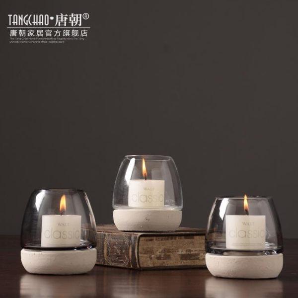 蠟燭香薰北歐美式鄉村水泥燭臺擺件客廳樣板間咖啡廳浪漫餐廳擺設軟裝飾品-凡屋