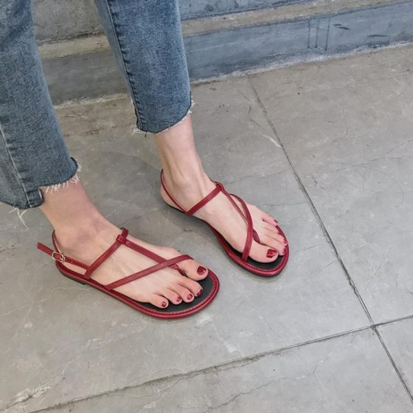 韓版紅色平底涼鞋女學生夏新款軟底簡約百搭度假夾趾羅馬涼鞋