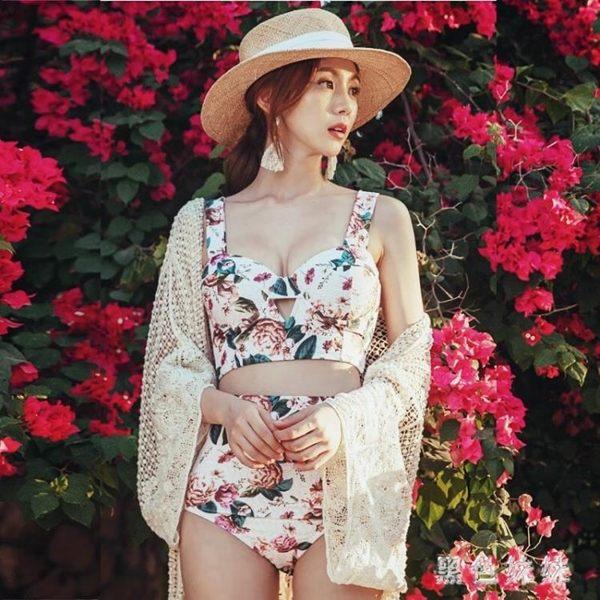 韓版新款比基尼小胸聚攏性感泳裝bikini三點式復古分體泳衣女 aj12077『黑色妹妹』