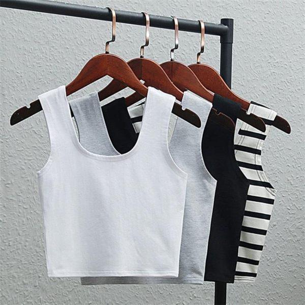 短板上衣 夏新款棉運動吊帶小背心條紋內搭短款露臍上衣