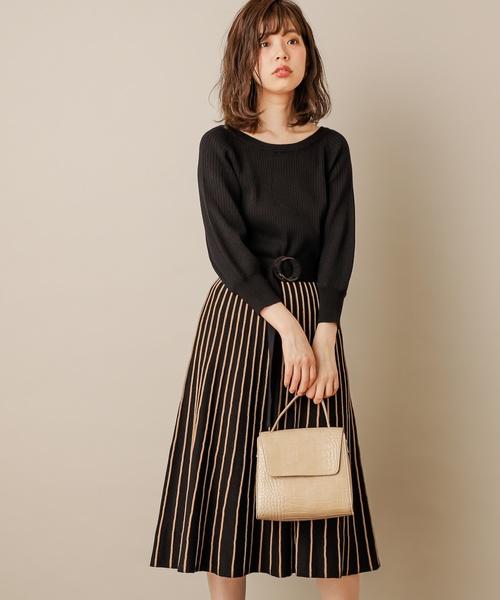 雙色直條紋百褶針織連身裙