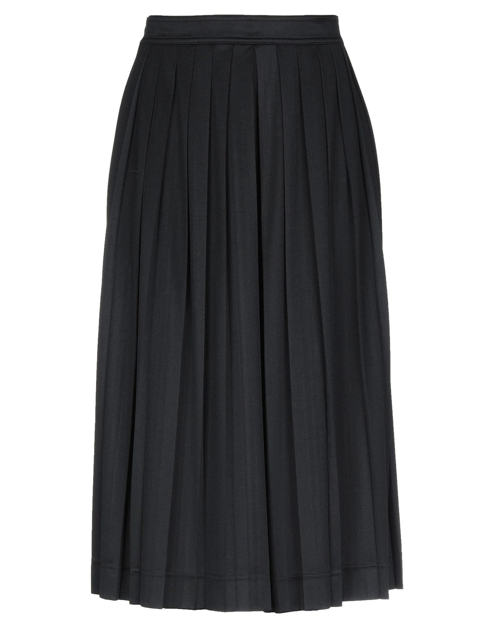 jersey, folds, basic solid color, mid rise, no pockets, rear closure, zip, unlined, divided skirt.