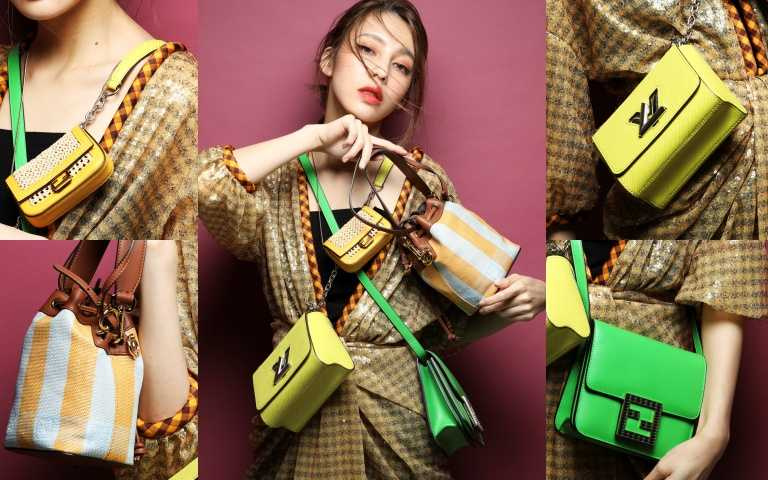 (中)FENDI格紋春夏洋裝/價格未定;(左上)FENDI Nano Baguette(黃)/28,700元;(右下)FENDI Fab綠色包款/63,900元;(左下)FENDI Pequín Mon Tresor水桶包/63,000元;(右上)LOUIS VUITTON黃色手袋/107,000元。(圖/戴世平攝)