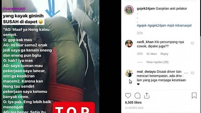Driver ojek online meletakkan bantal untuk menjaga kenyamanan penumpang